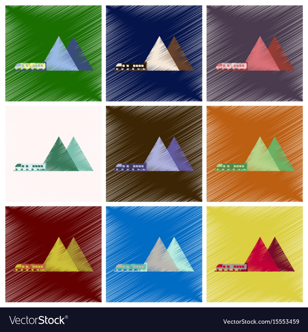 Set of flat icons in shading style mountain train