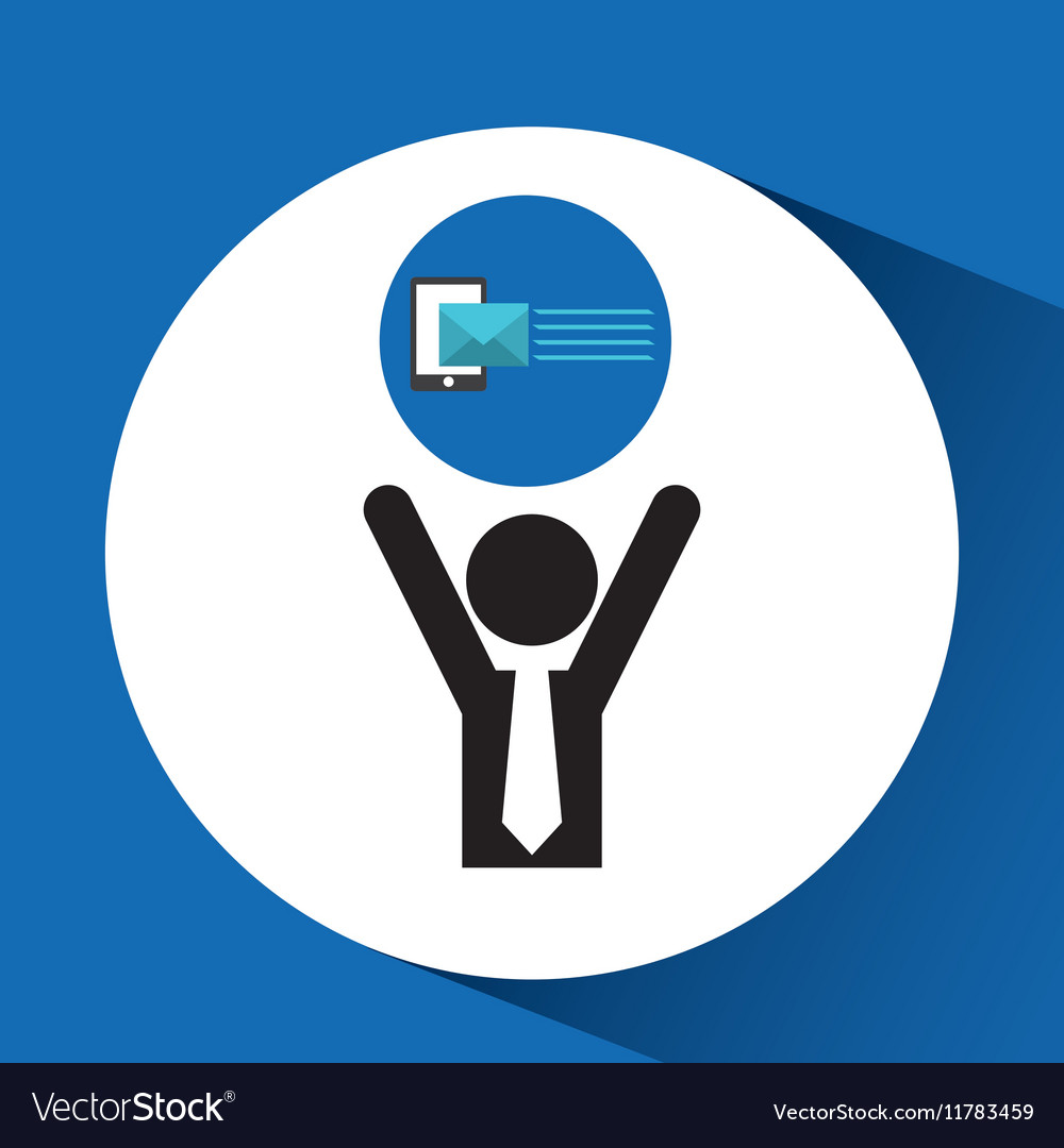 Silhouette man with email send message vector image
