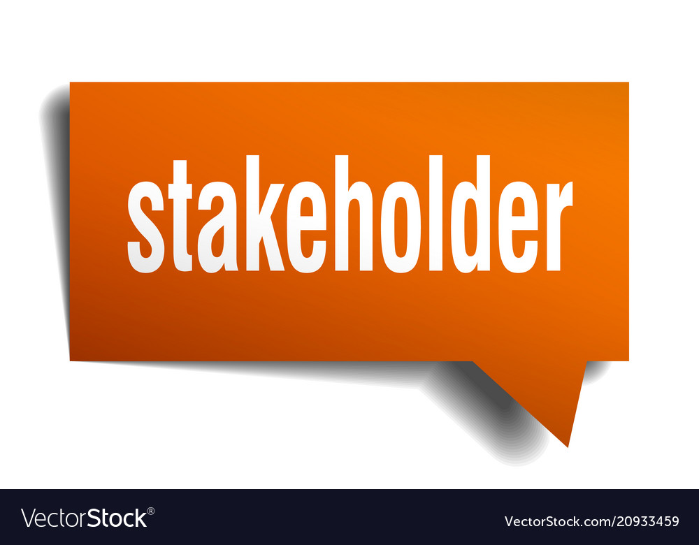 Stakeholder orange 3d speech bubble