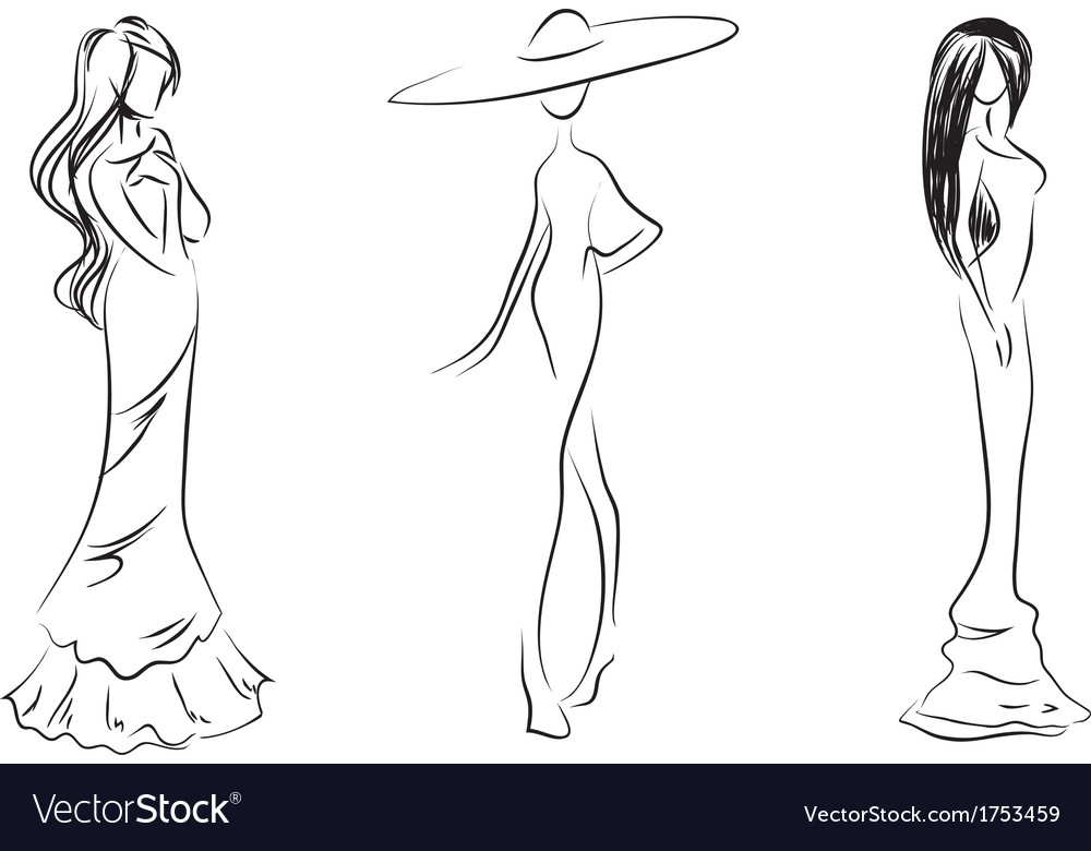 Three silhouettes vector image