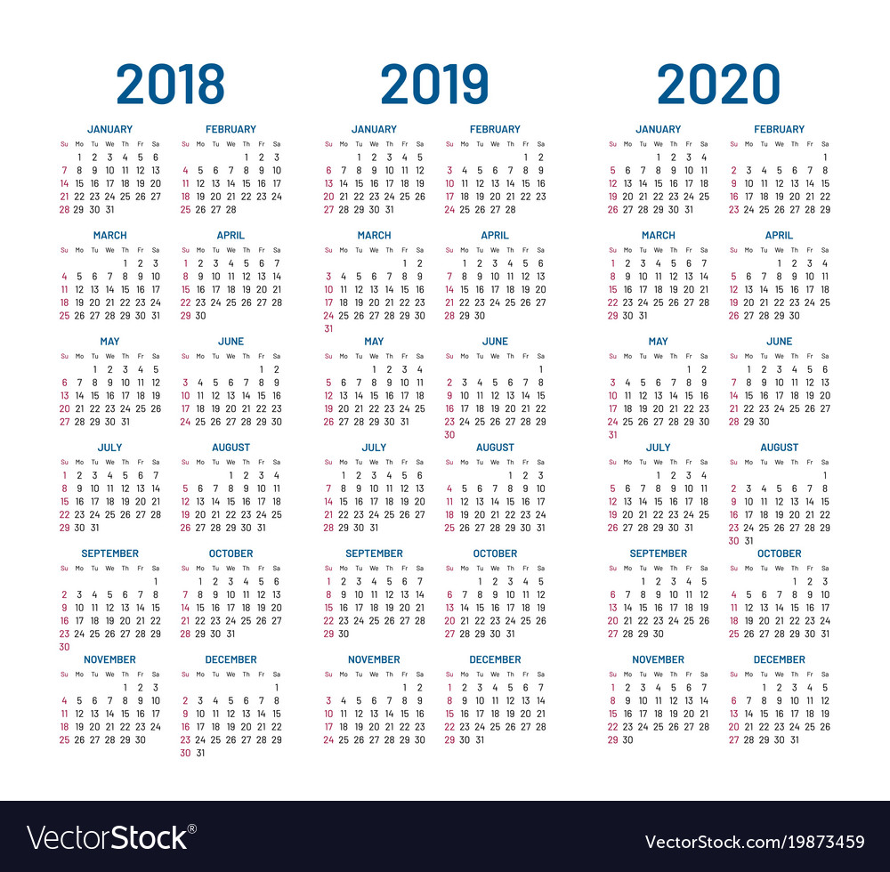 Calendar 2020 Vector Year 2018 2019 2020 calendar Royalty Free Vector Image