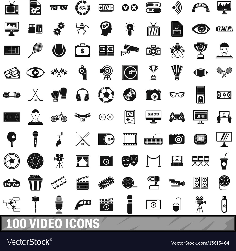 100 video icons set simple style