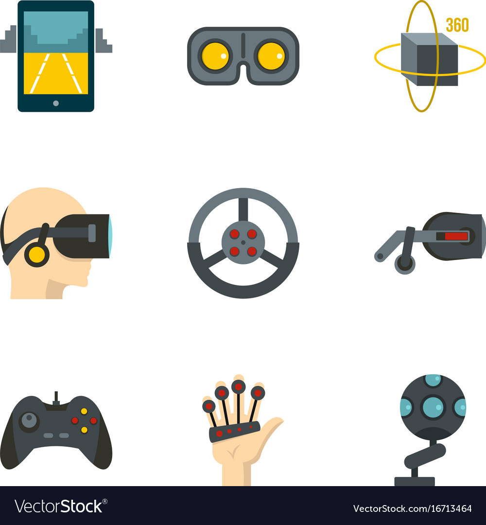 Augmented reality icons set flat style