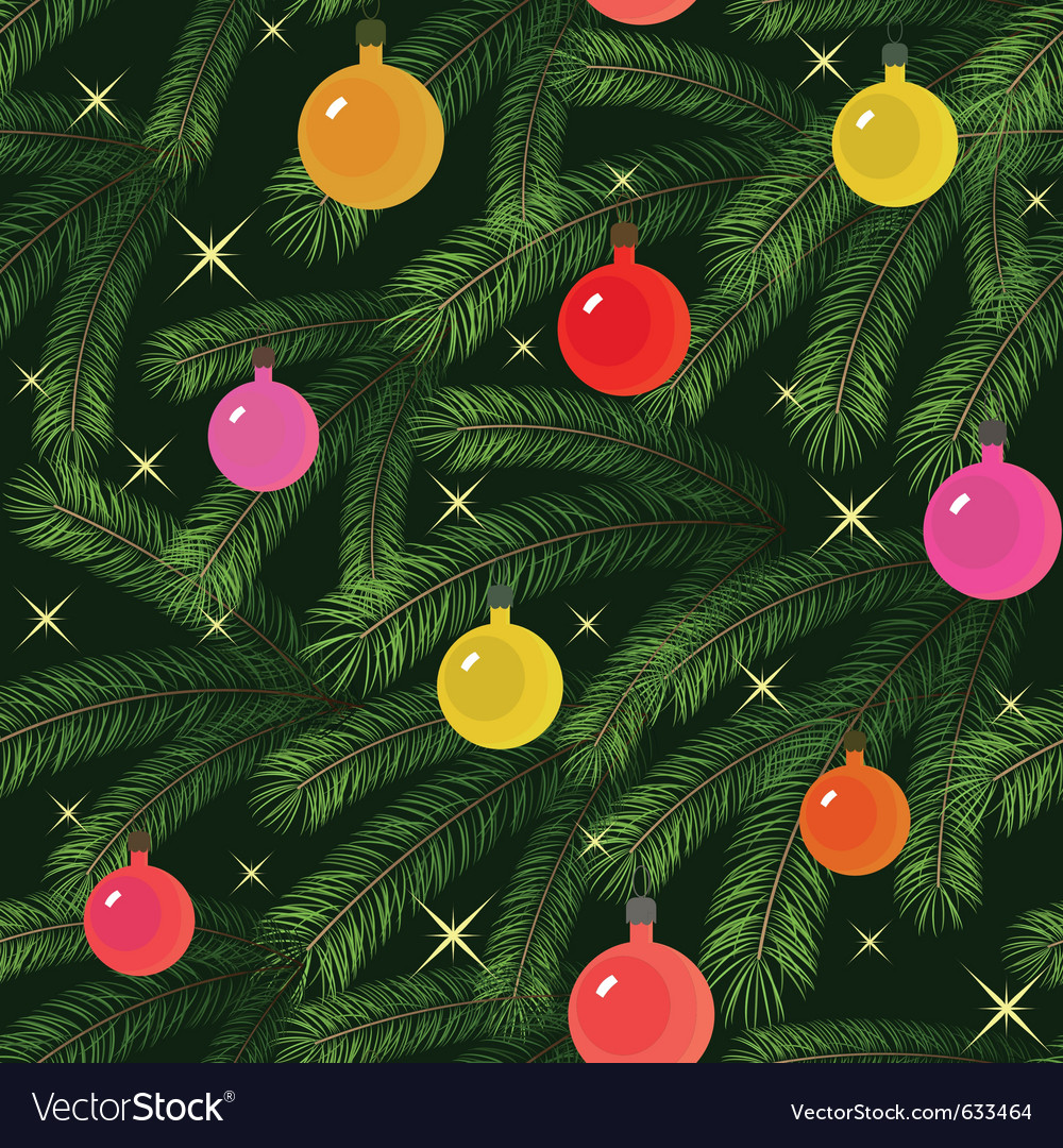 Christmas tree fir branch decorated seamless