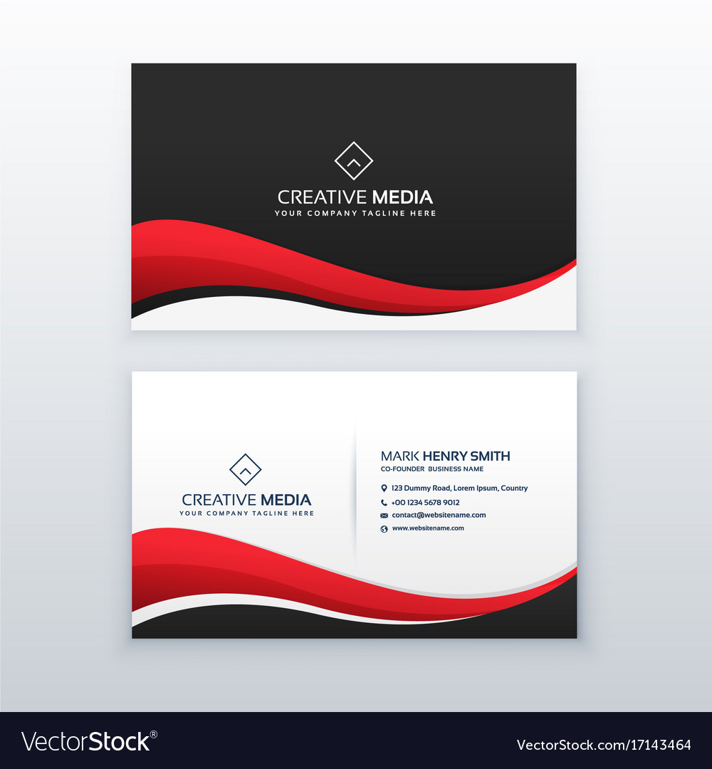 Clean business card design with red wave Vector Image