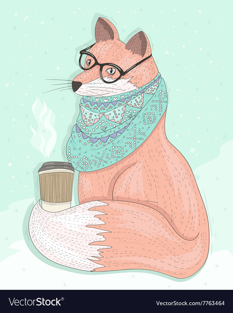 003c0840789 Cute hipster fox with glasses drinking hot coffee Vector Image