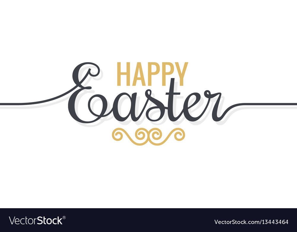 Easter background vintage lettering on white vector image
