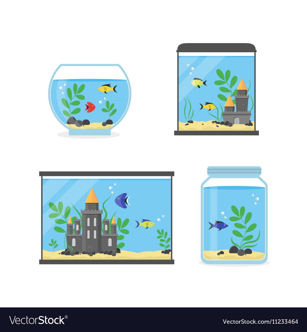Glass Aquarium Set for Interior Home