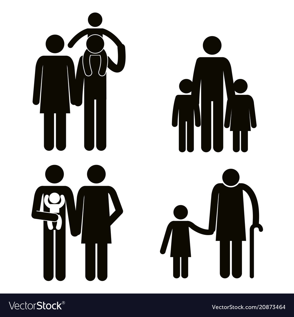 Group of family members avatars silhouettes