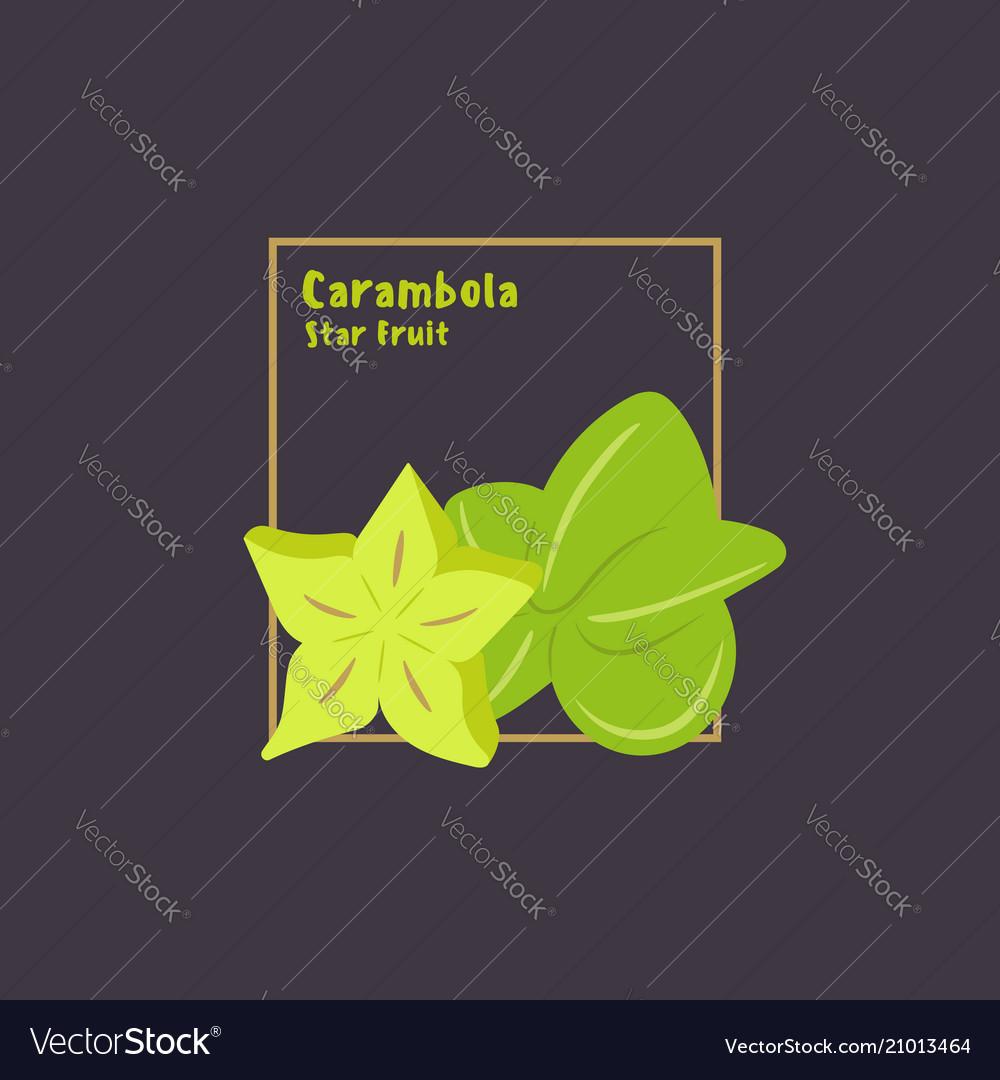 Hand drawing carambola starfruit with slice on