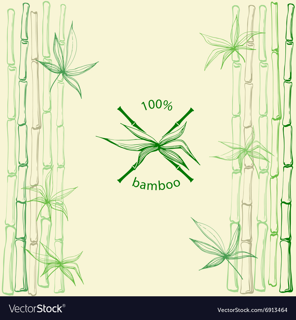 Hand drawn bamboo leaves with crossed stems