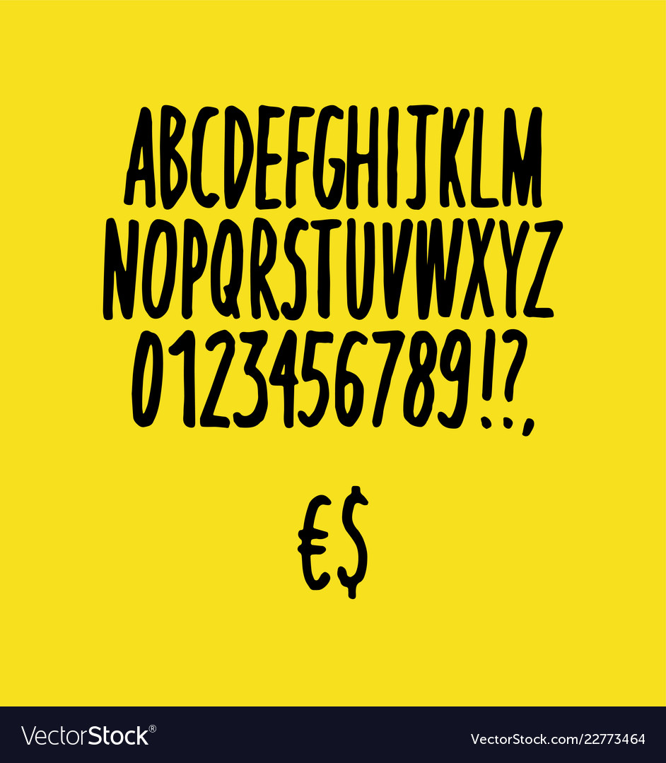 Hand drawn font sketch style alphabet