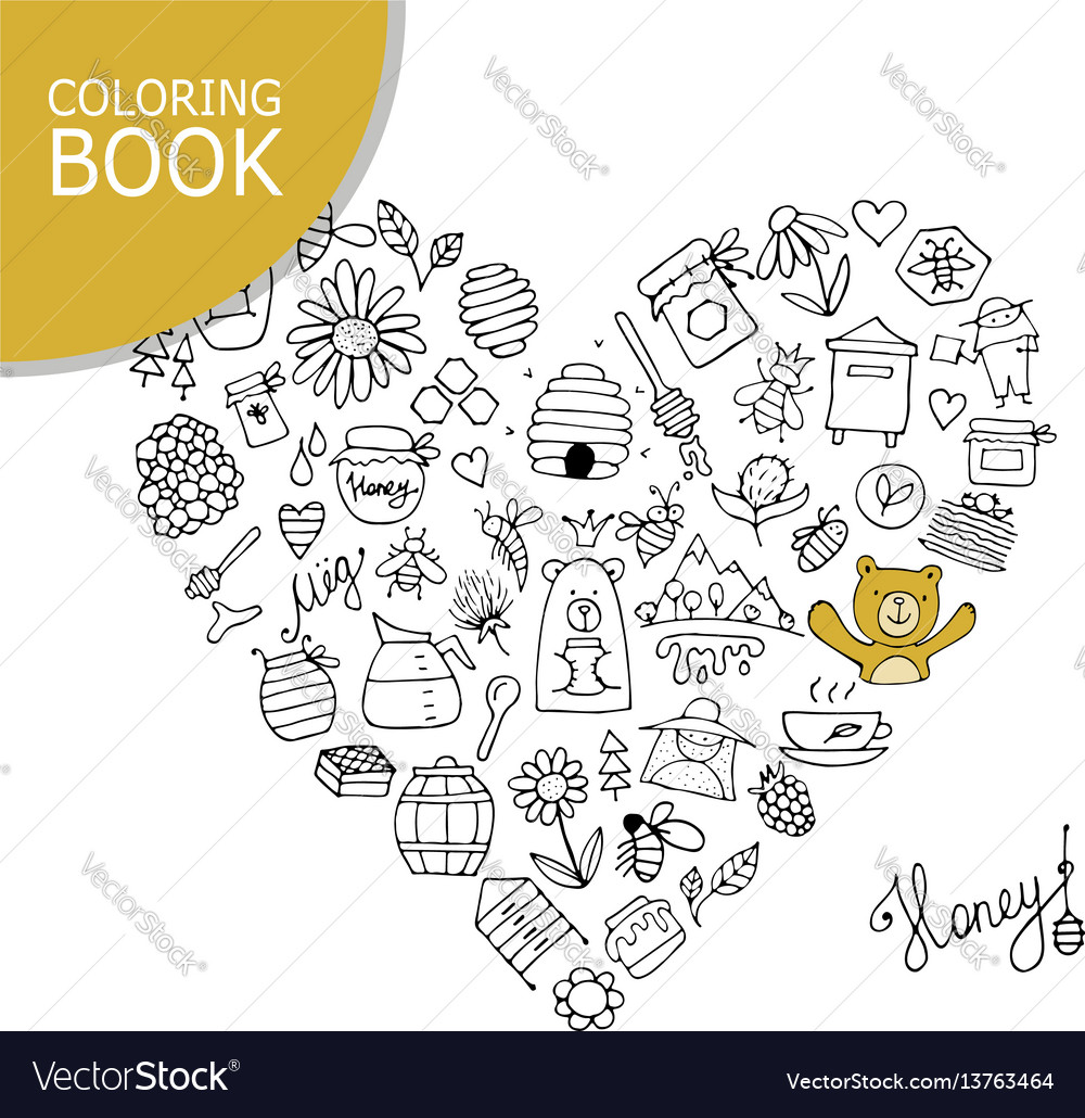 Honey apiary icons heart shape sketch for your
