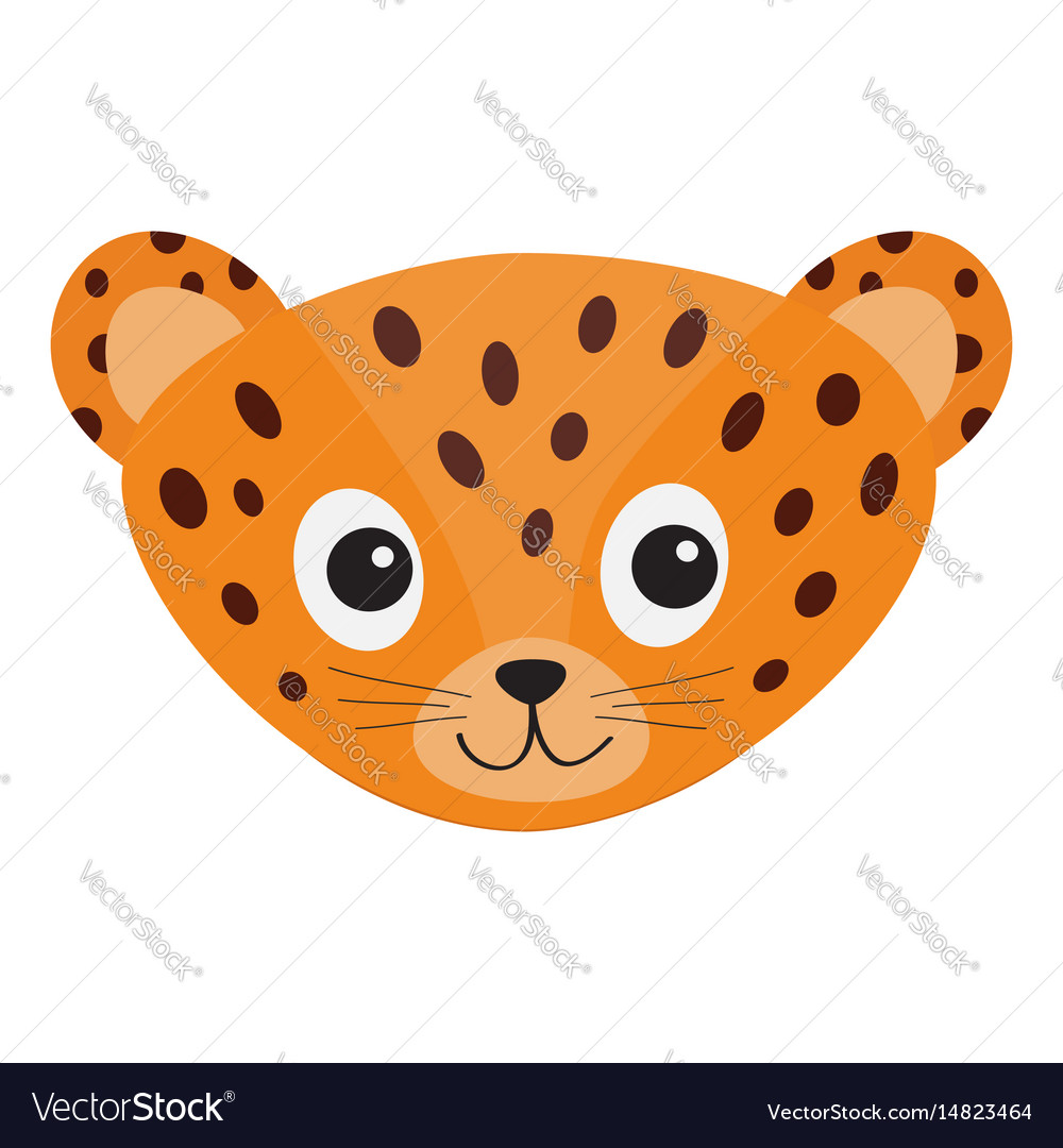 Jaguar leopard head wild cat smiling face orange vector image