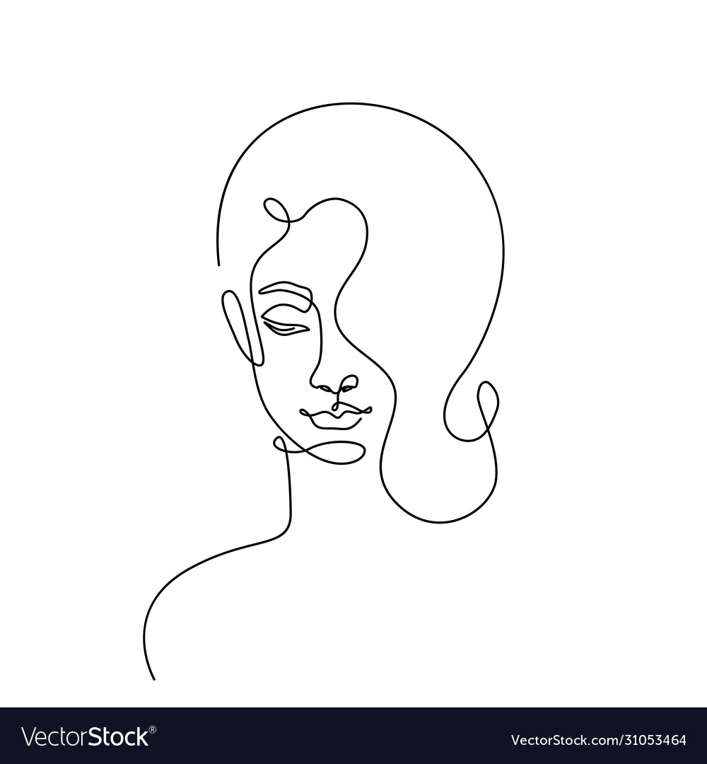 Modern fashion linear female face profile