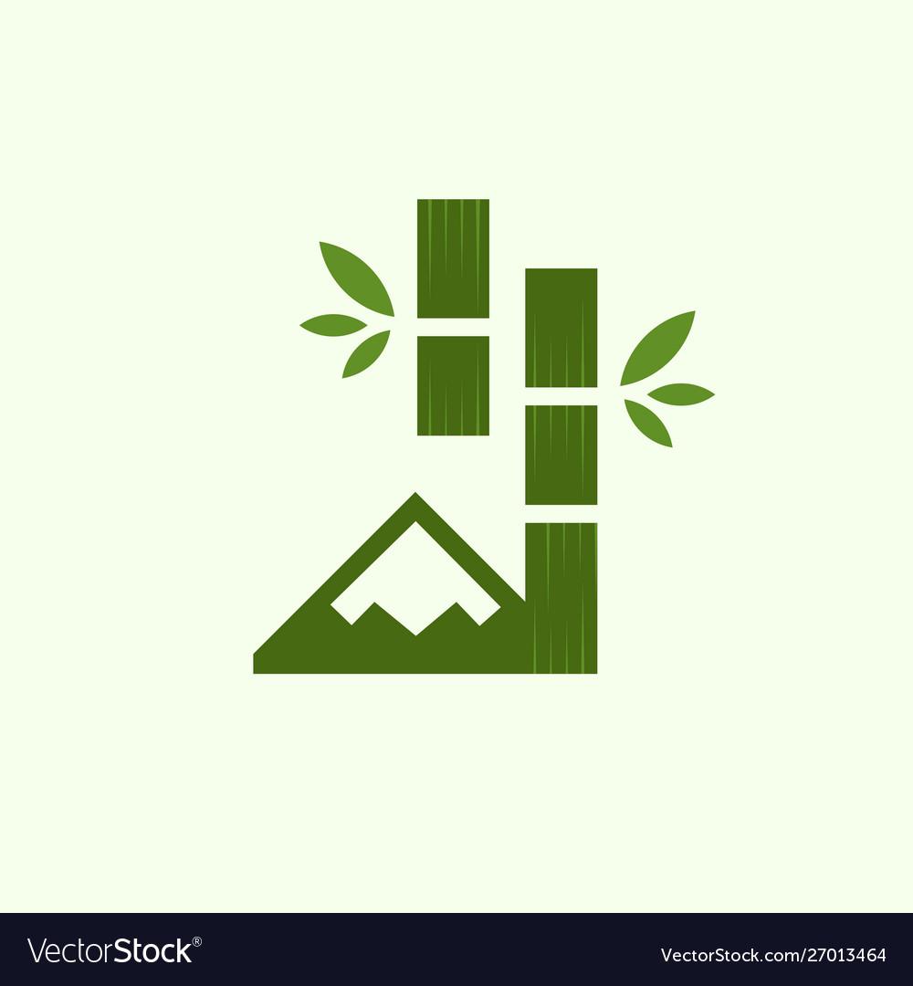 Mountain forest bamboo naturally logo