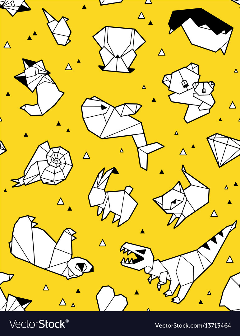 Origami pattern background with papers animals vector image