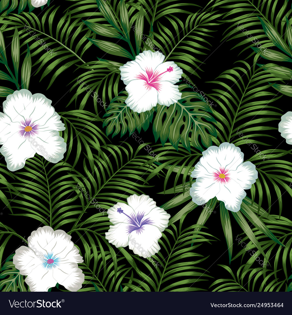 White hibiscus and green leaves seamless black