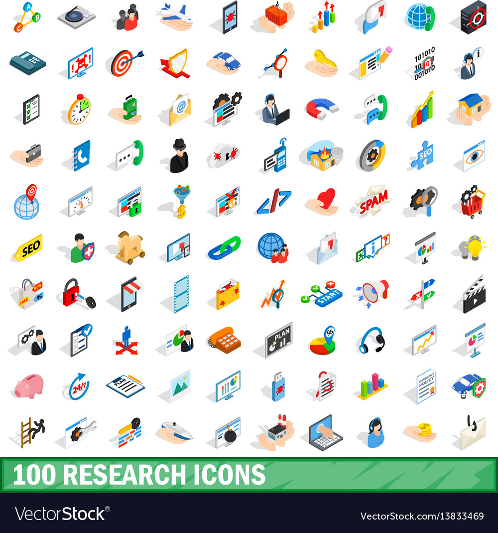 100 research icons set isometric 3d style