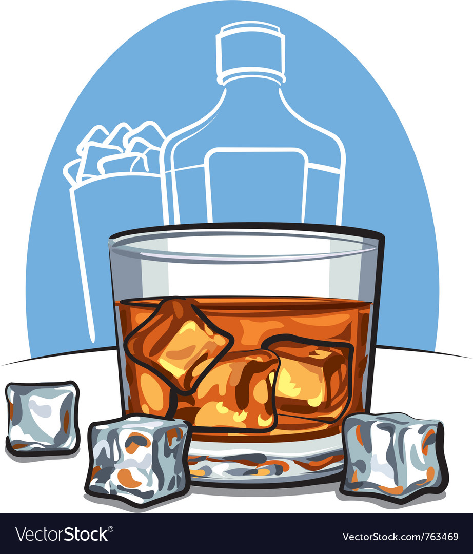 Glass of scotch whiskey and ice vector image
