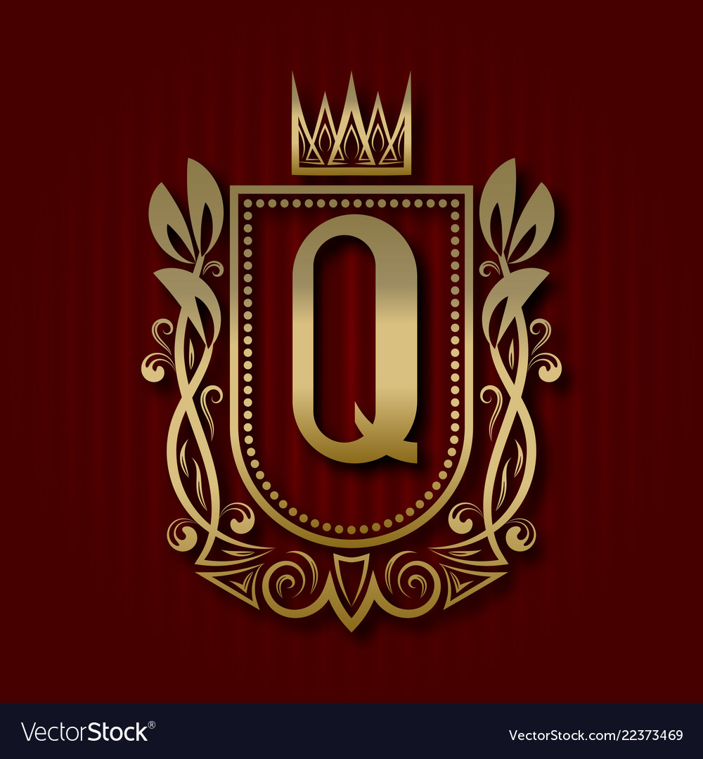 Golden royal coat of arms with q monogram