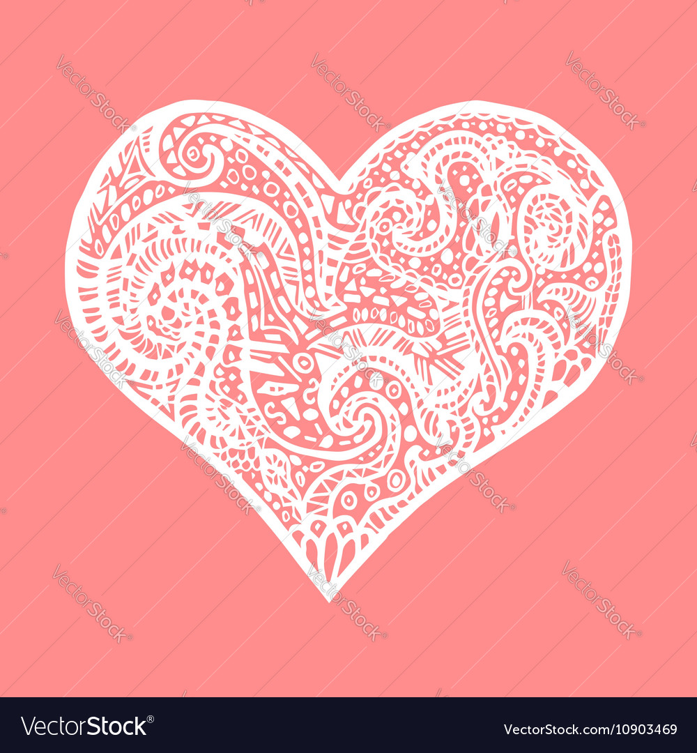 Hand Drawing Heart Card For Saint Valentines Day Vector Image
