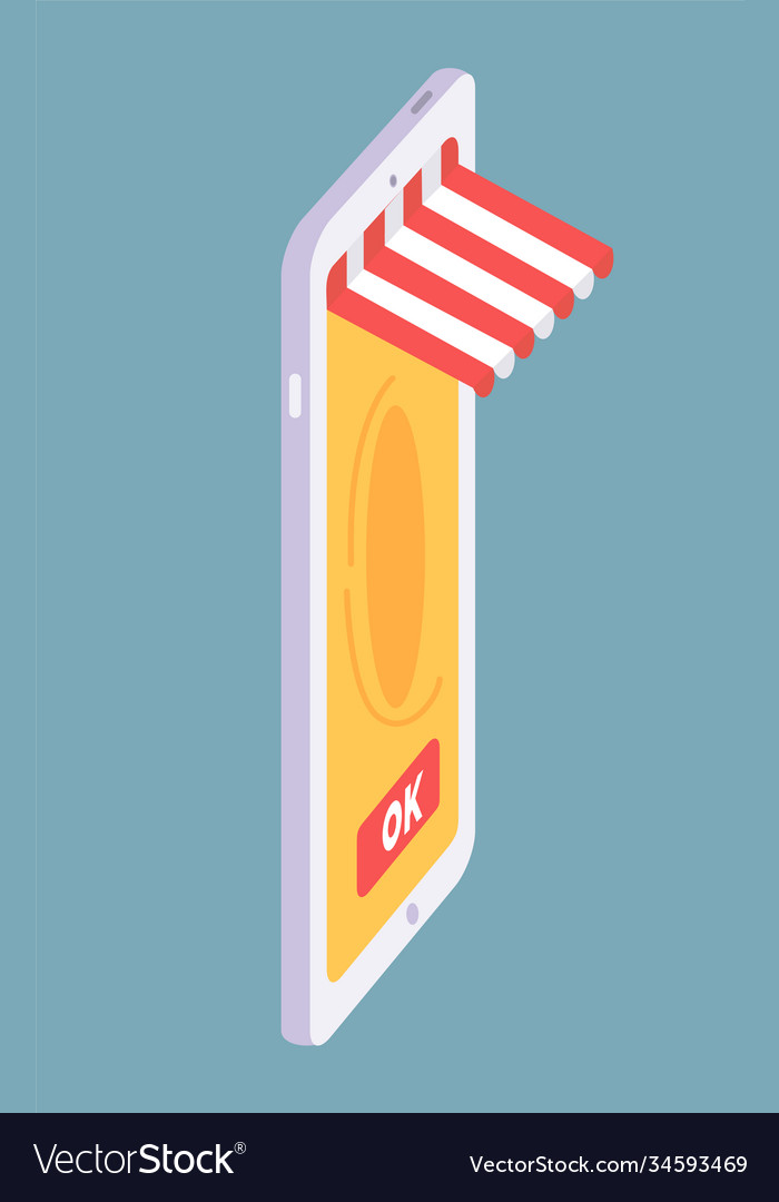 Isometric smartphone with online shop concept ok vector