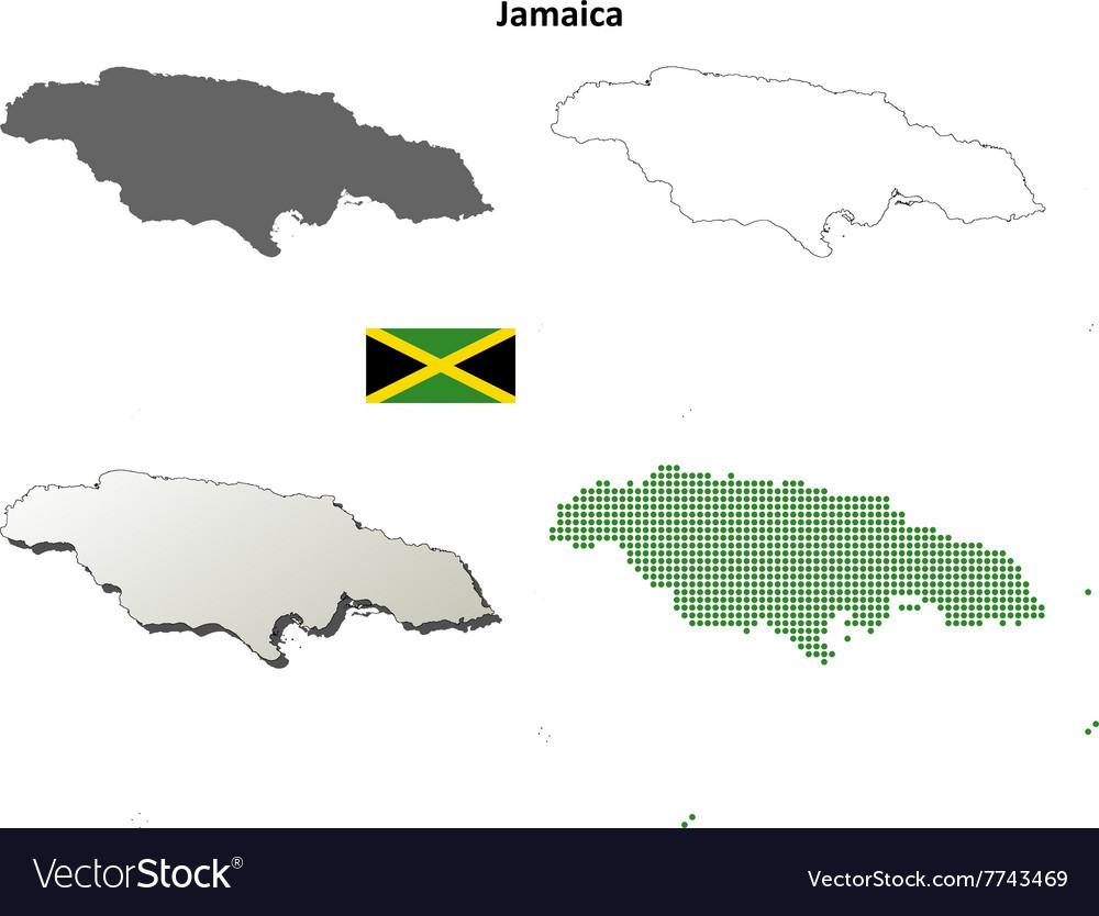 Jamaica outline map set
