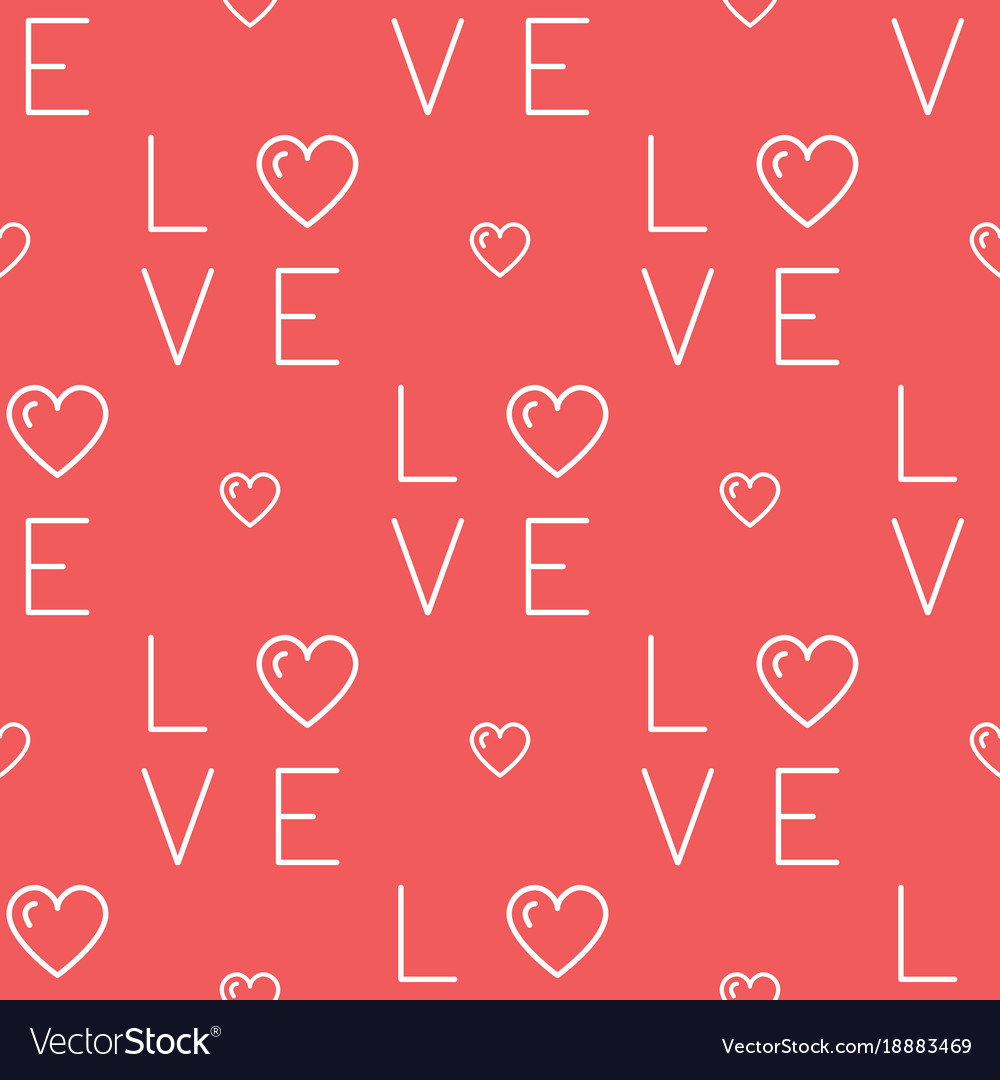 Love pattern seamless text love and hearts on a