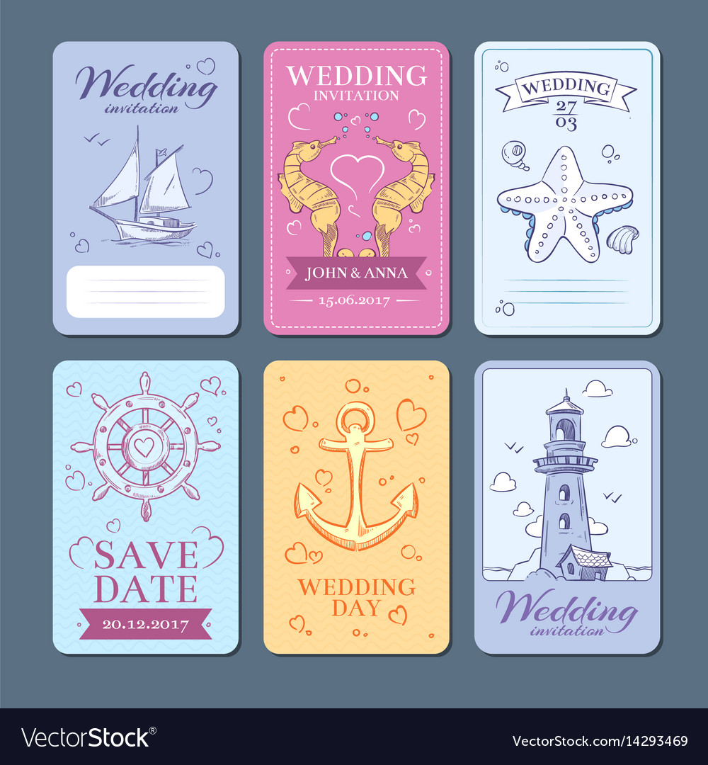 Marine sea voyage wedding invitation cards vector image stopboris Image collections