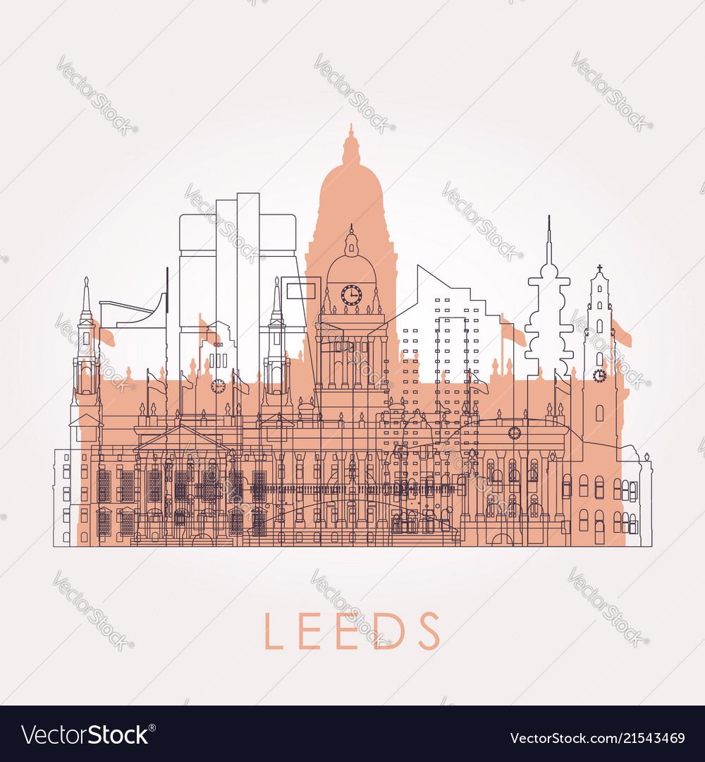 Outline leeds skyline with landmarks