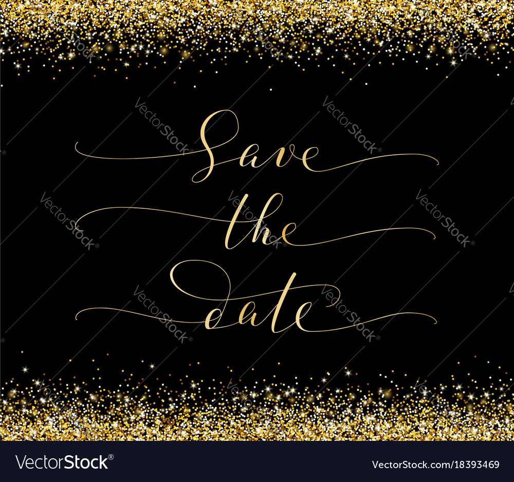 Save the date card with falling glitter confetti