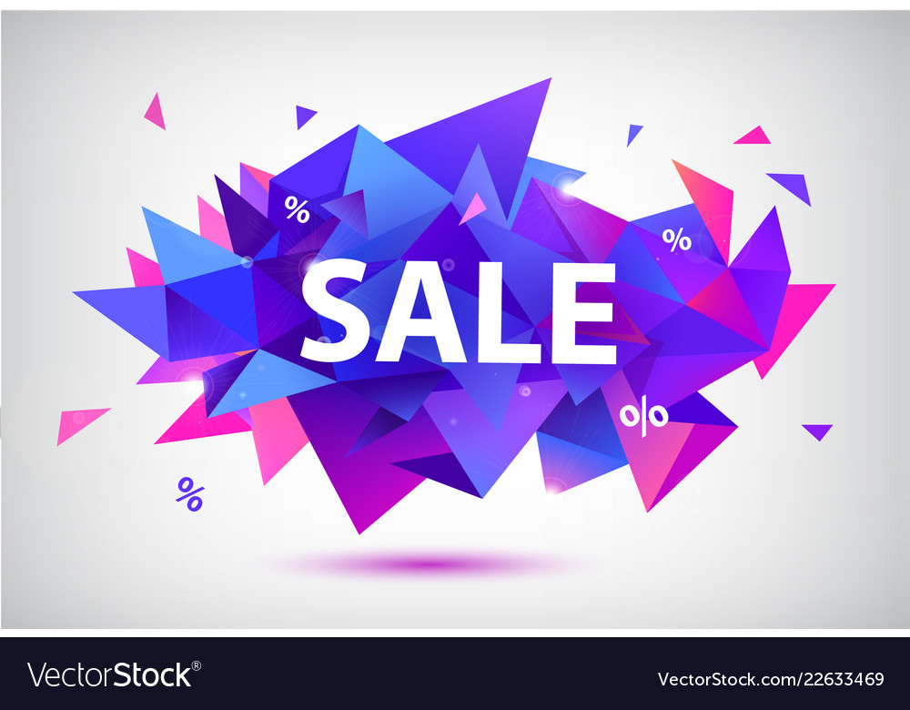 Set of sale faceted geometric banners vector image on VectorStock