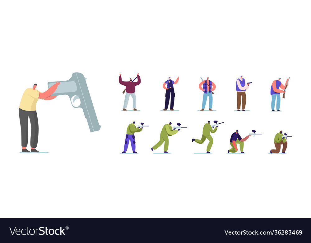 Set people with hand gun male female