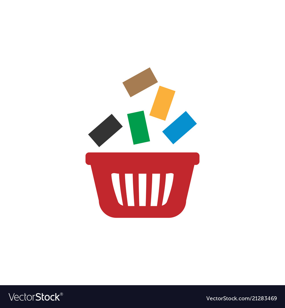 Shopping bag with goods retail logo design