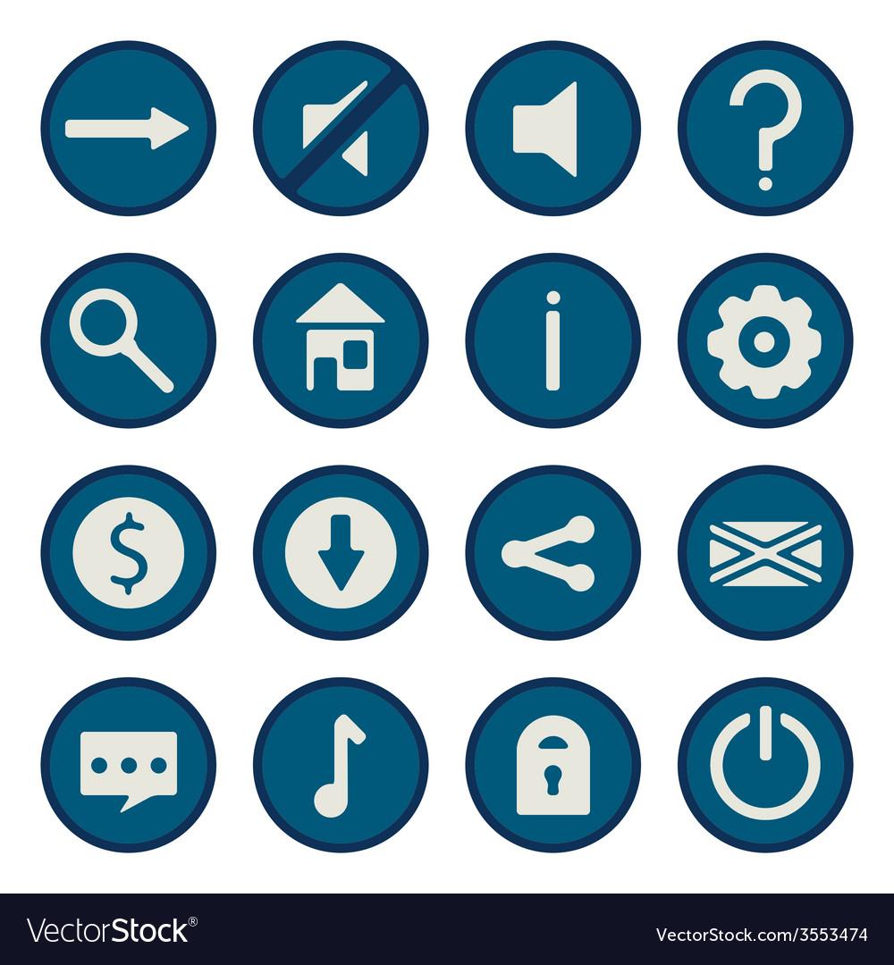 Blue flat game icons set