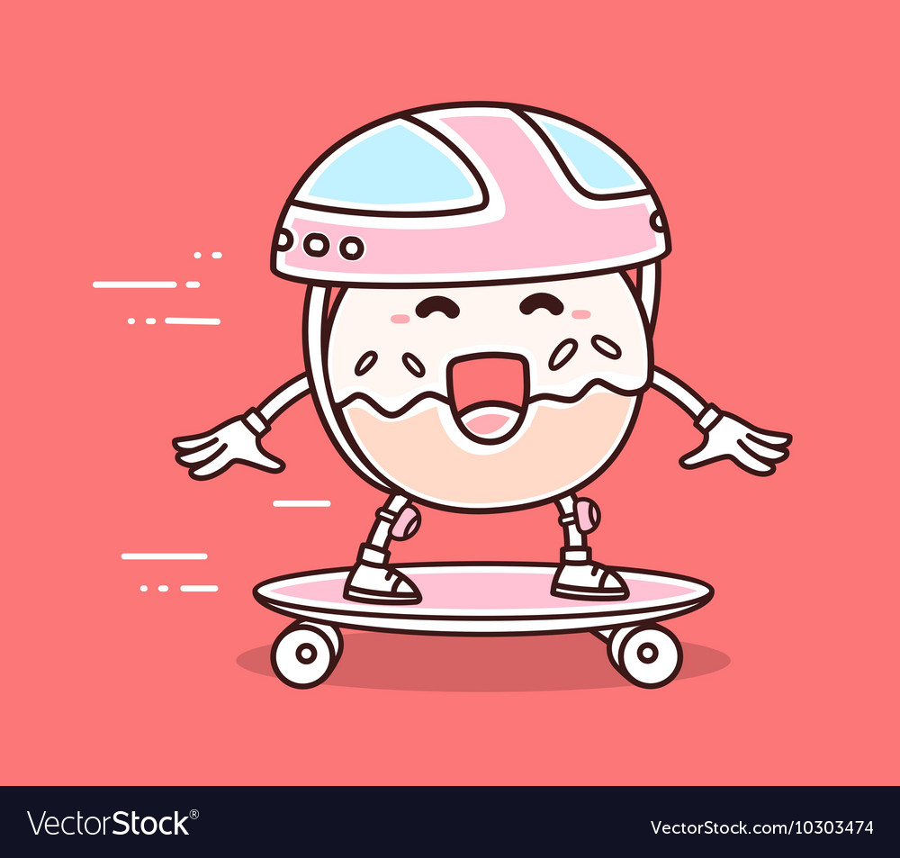 Bright color smile donut in helmet riding vector image