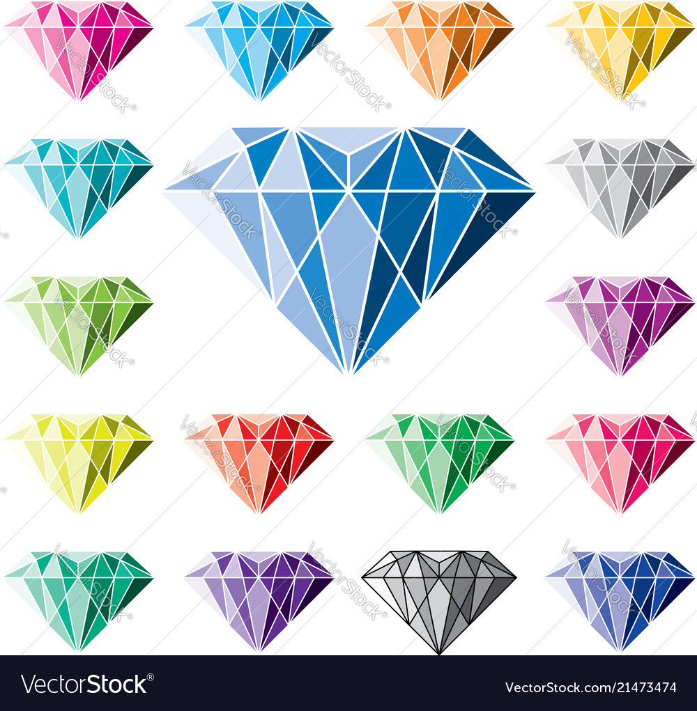 Collection of colorful diamonds