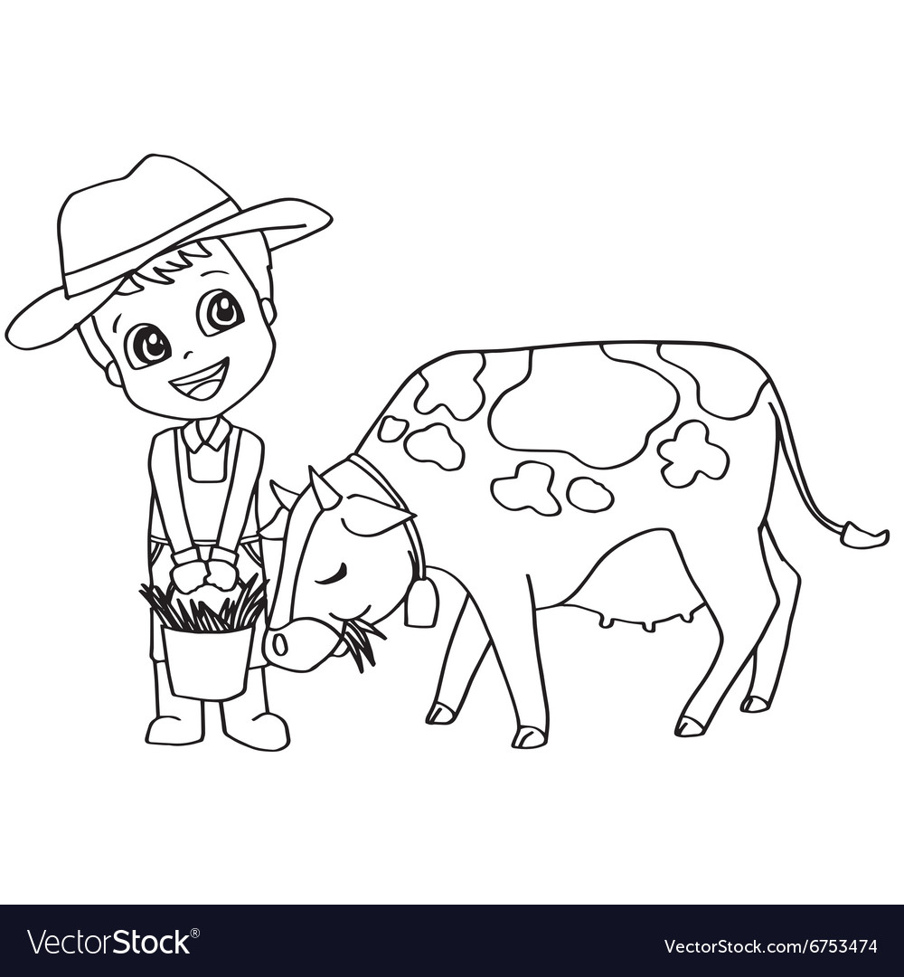 Coloring book or page child feeding cow Royalty Free Vector