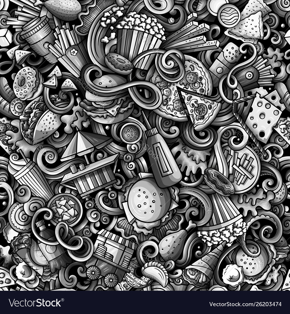 Fastfood hand drawn doodles seamless pattern fast