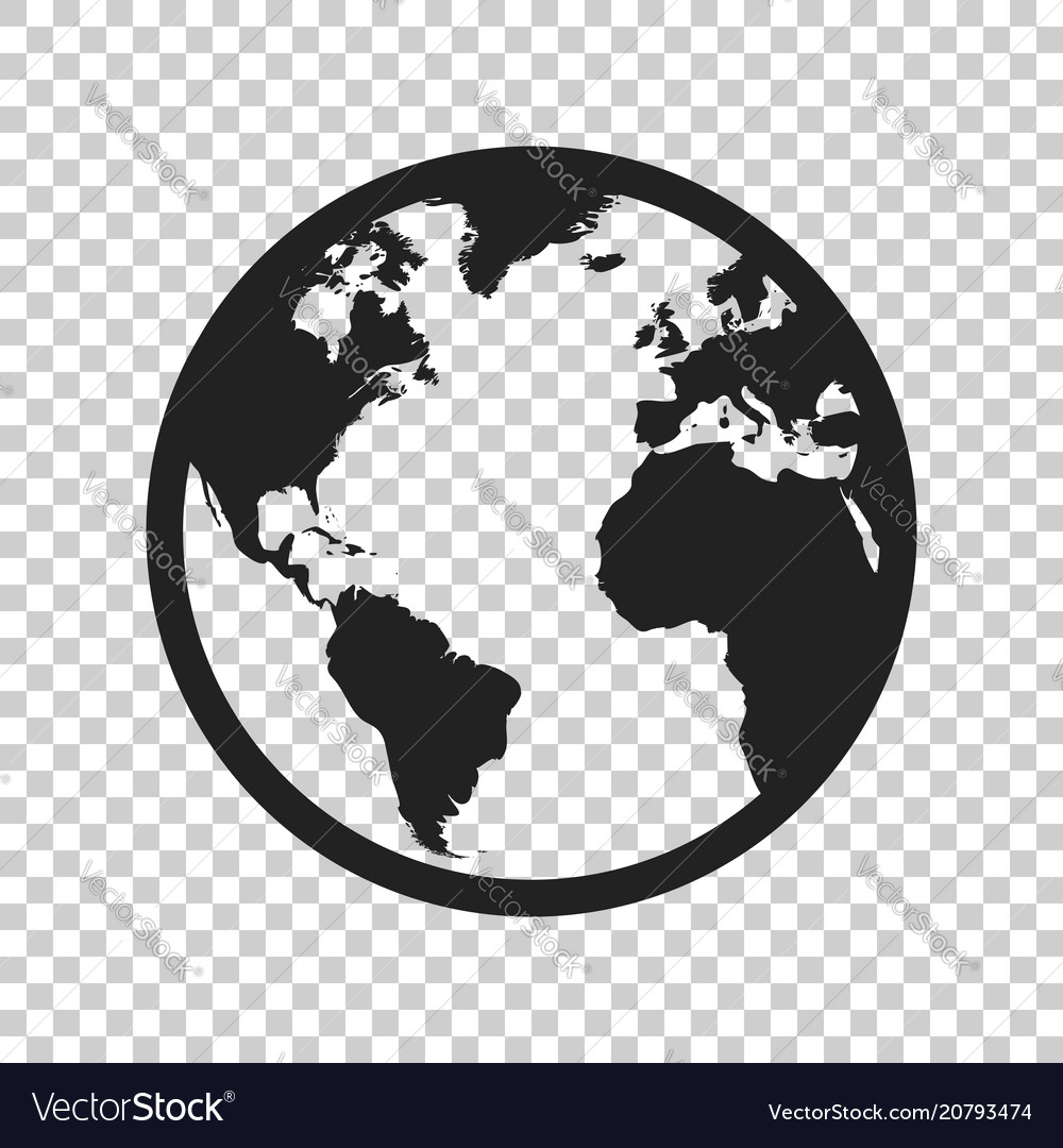 Cardinal Direction On Flat Earth Map Stock Vector ...   Earth Flat Icon Eps