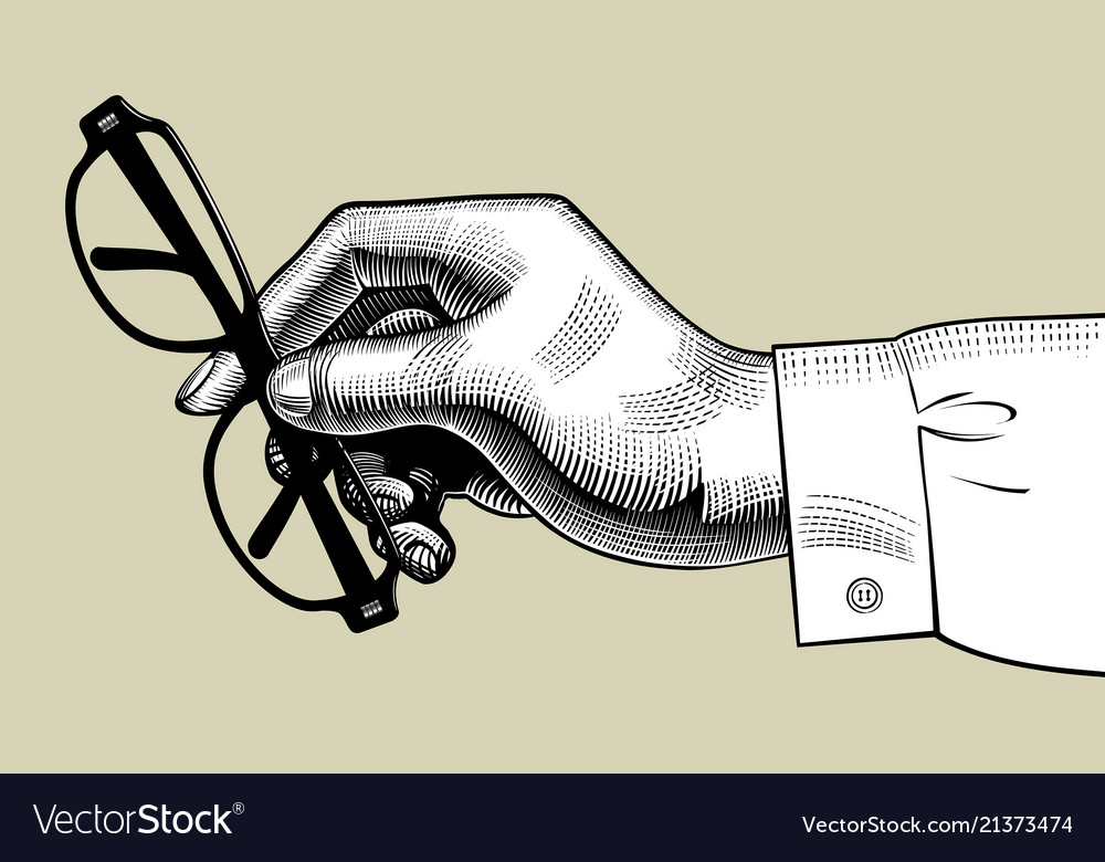 Hand of man holding glasses
