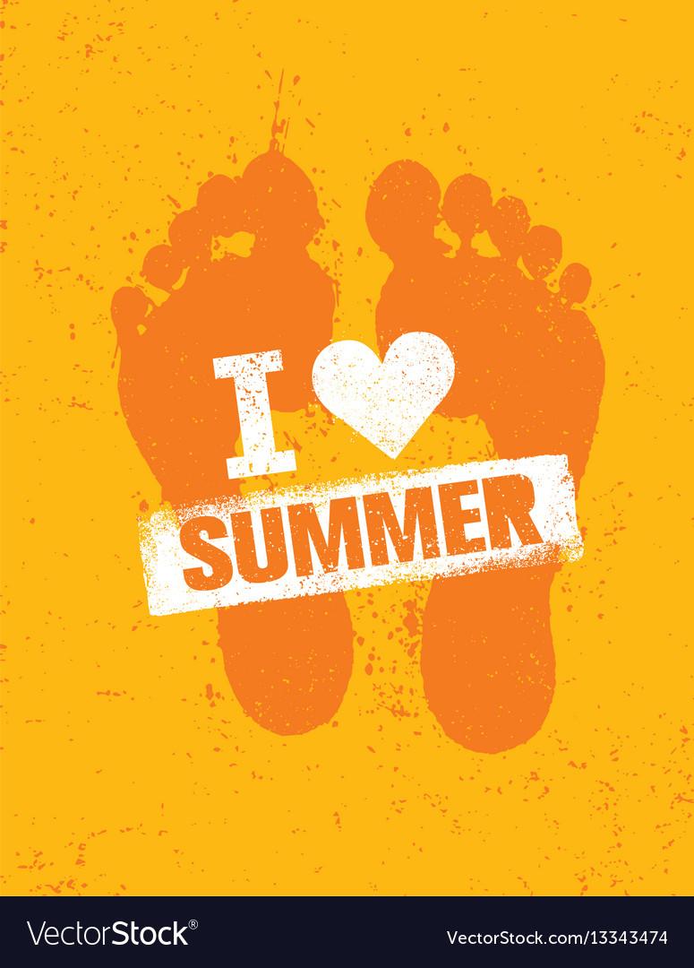 Hello summer bright creative footprint sand beach