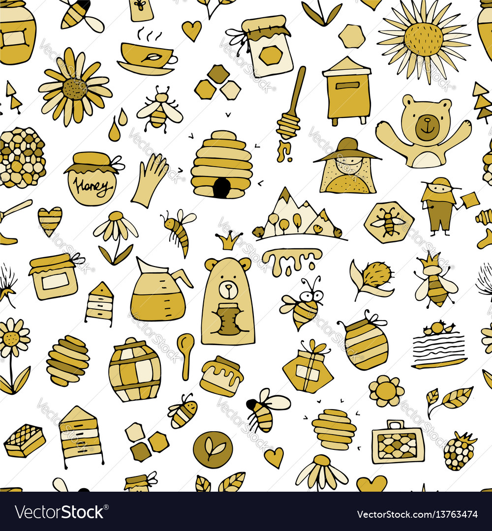 Honey apiary seamless pattern sketch for your