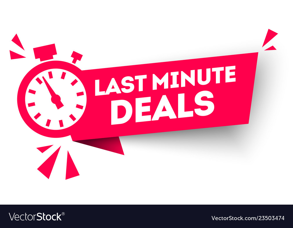 Last minute deal button flat label flag sign