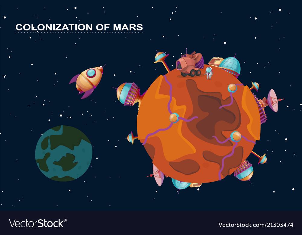 Mars colonization - planet with futuristic