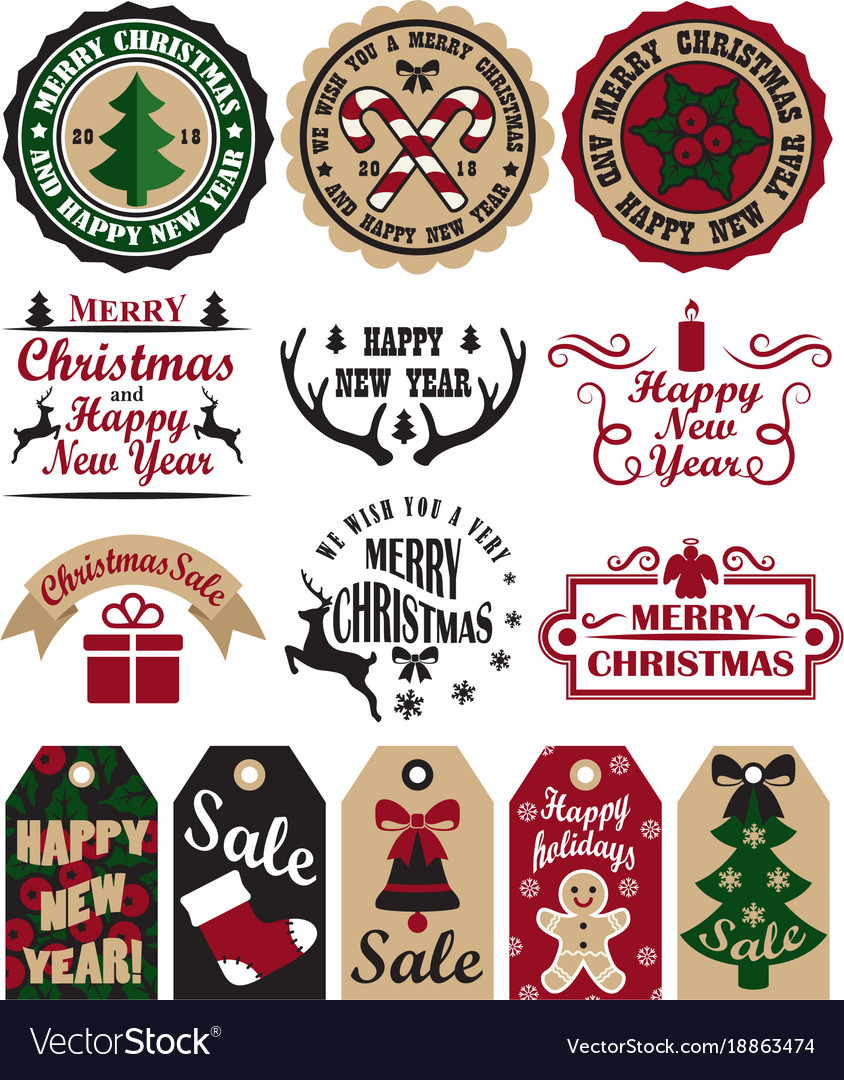 Merry Christmas Symbols Set Royalty Free Vector Image