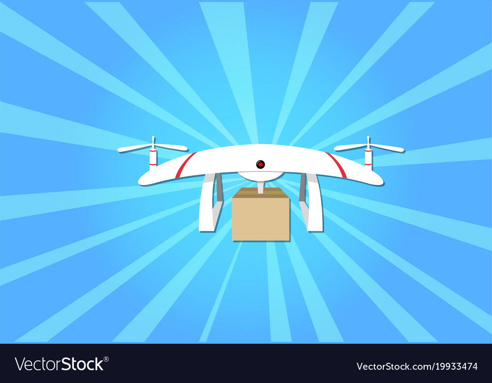Parcel delivery by drone on blue background