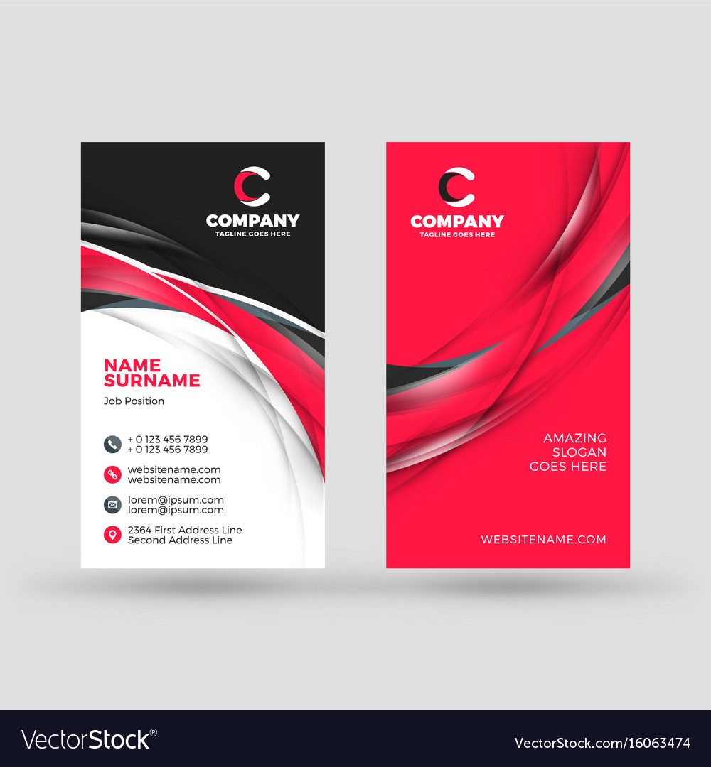 Vertical Doublesided Business Card Template Vector Image - Double sided business card template