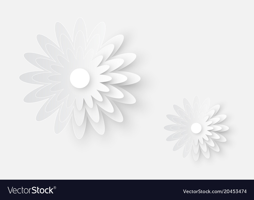 White paper cutting flower art on white paper vector image mightylinksfo